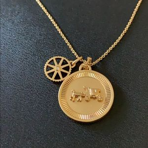 "Coach horse and carriage coin necklace 16"" golden"